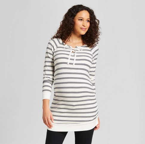 Maternity 3/4 Sleeve Lace-Up Sweatshirt - Isabel Maternity by Ingrid & Isabel™