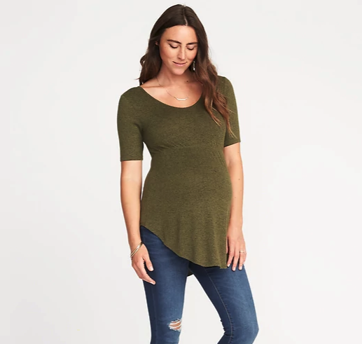 Maternity Plush-Knit Curved-Hem Tunic