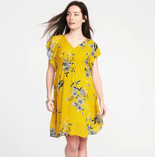 Maternity Ruffle-Sleeve Shift Dress