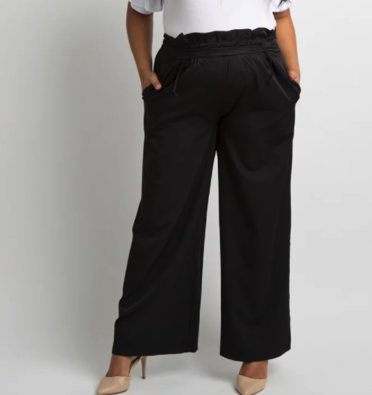 Black Lace-Up Accent Wide Leg Plus Maternity Pants