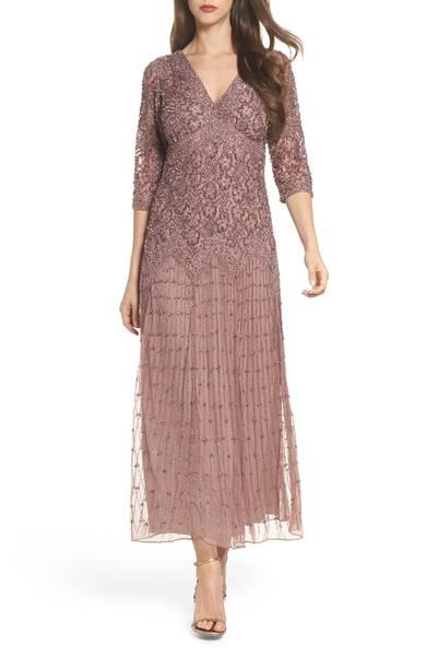 Beaded Mesh Dress by Pisarro Nights