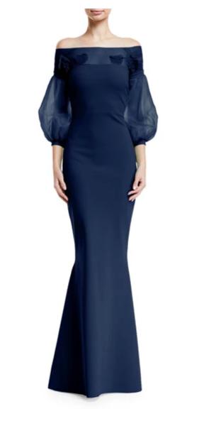 Chiara Boni La Petite Robe Moyer Illusion Balloon-Sleeve Gown
