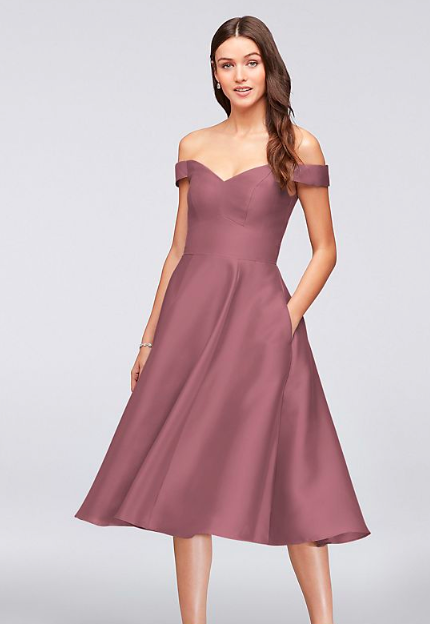 960ba9c36b8 Off-the-Shoulder Tea-Length Bridesmaid Dress