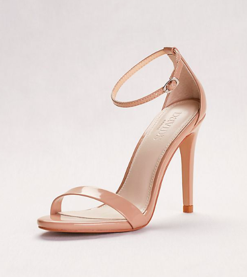 Patent High Heel Sandals with Ankle Strap