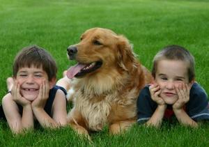 Happy children with dog