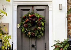 Beautiful Front Door with Wreath