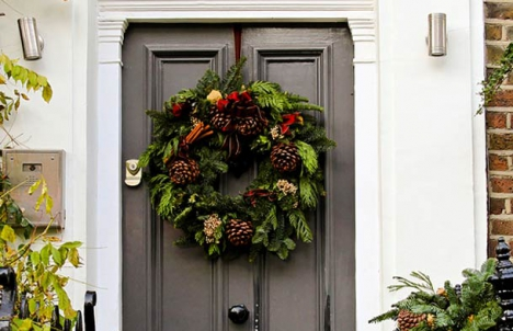Beautiful Front Door with Wreath