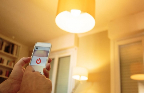 smartphone used as remote for smart light bulb