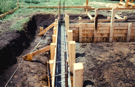 House foundation under construction