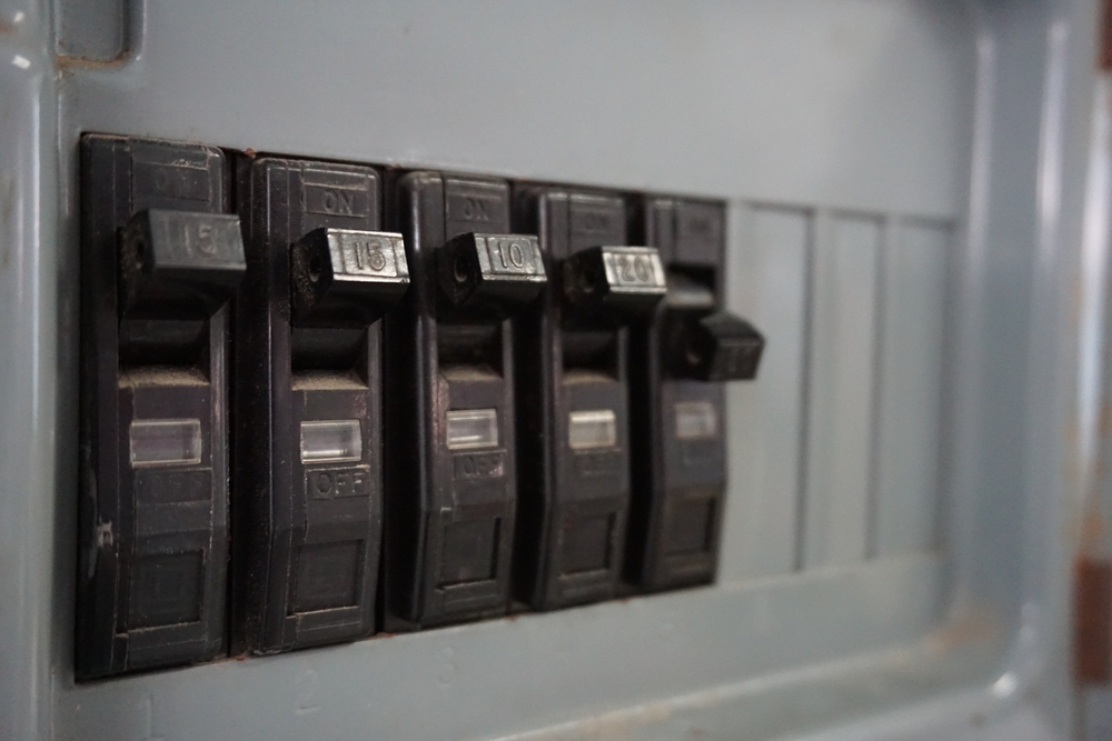 Close-up image of tripped circuit breaker