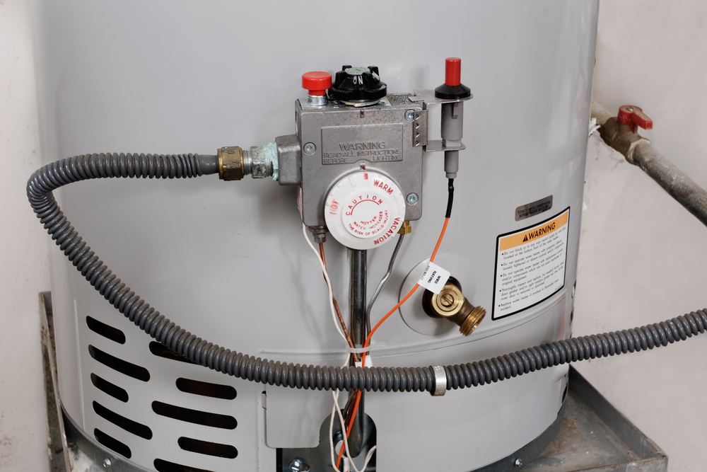 close-up of storage tank water heater