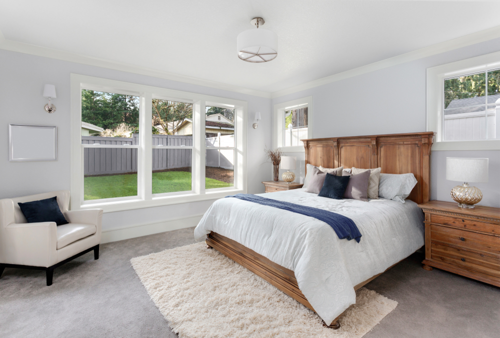 clean bedroom with empty walls