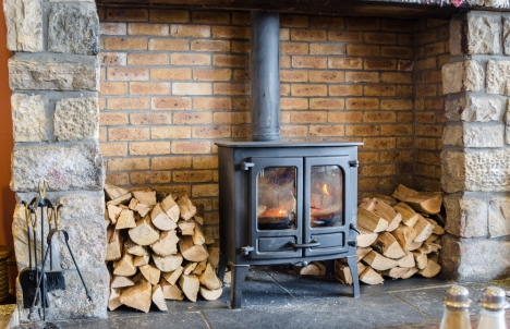 wood stove surrounded by logs