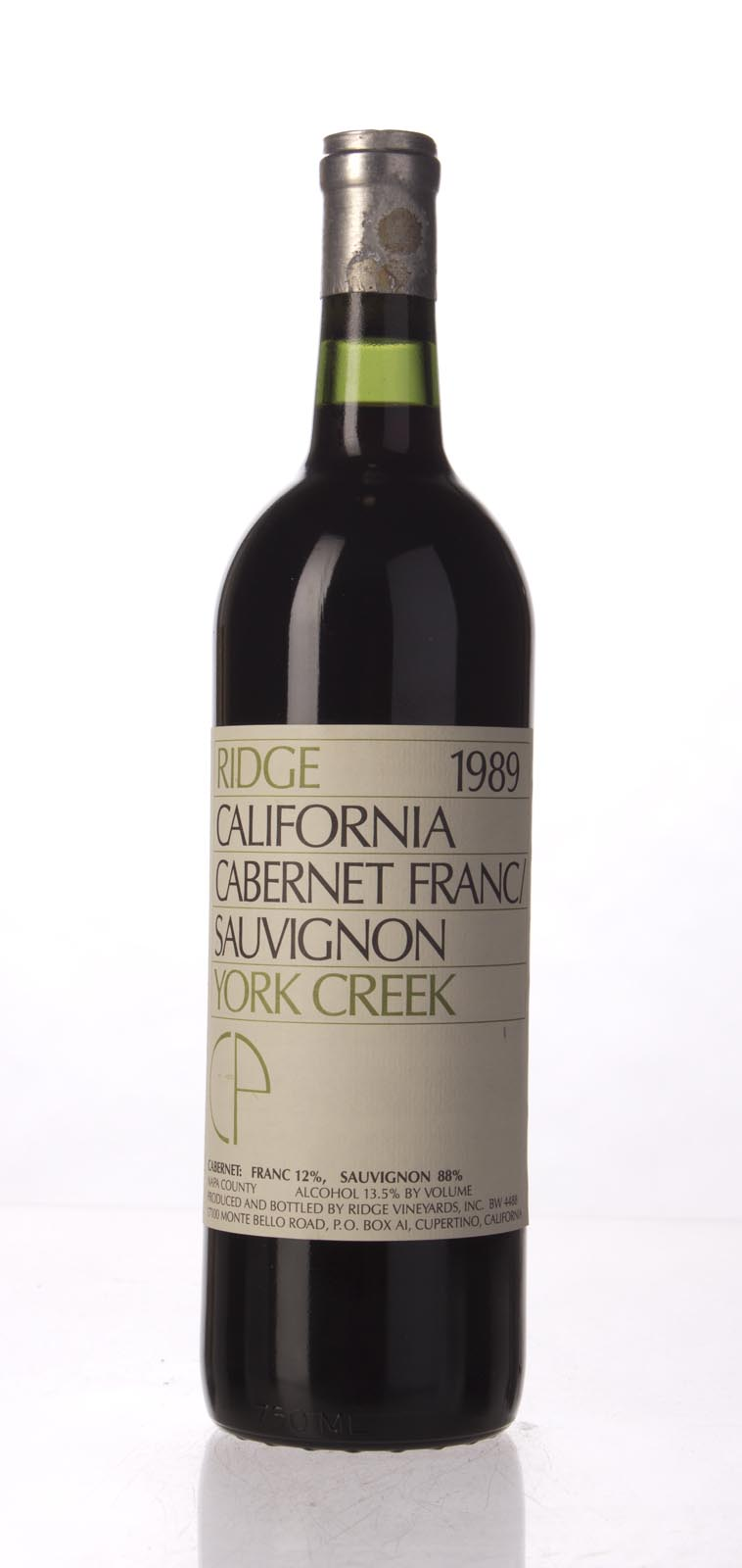 Ridge Cabernet Sauvignon / Cabernet Franc York Creek 1989, 750mL () from The BPW - Merchants of rare and fine wines.