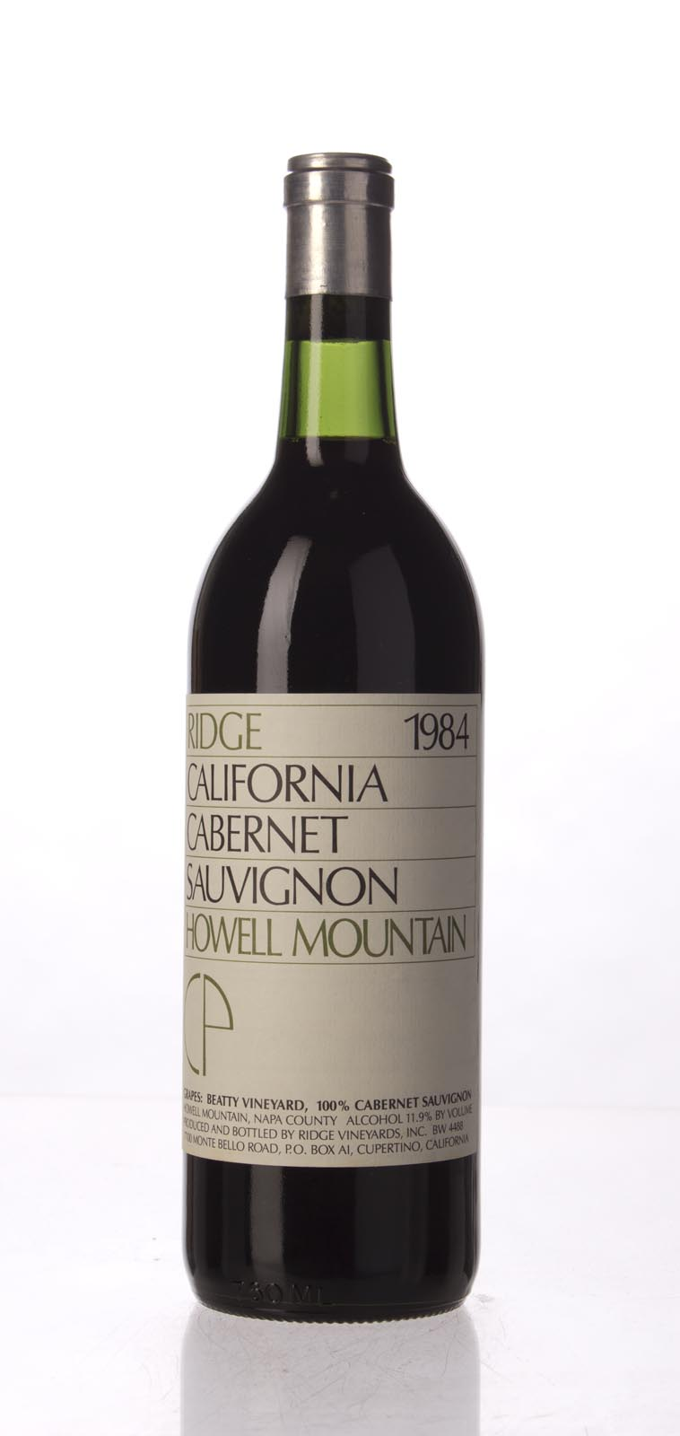Ridge Cabernet Sauvignon Howell Mountain 1984, 750mL () from The BPW - Merchants of rare and fine wines.
