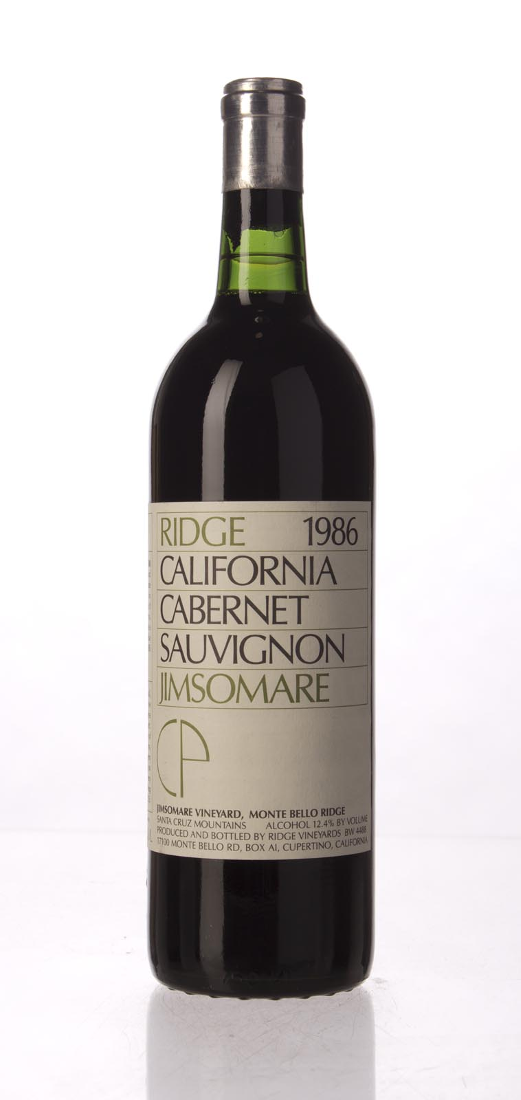 Ridge Cabernet Sauvignon Jimsomare 1986, 750mL () from The BPW - Merchants of rare and fine wines.