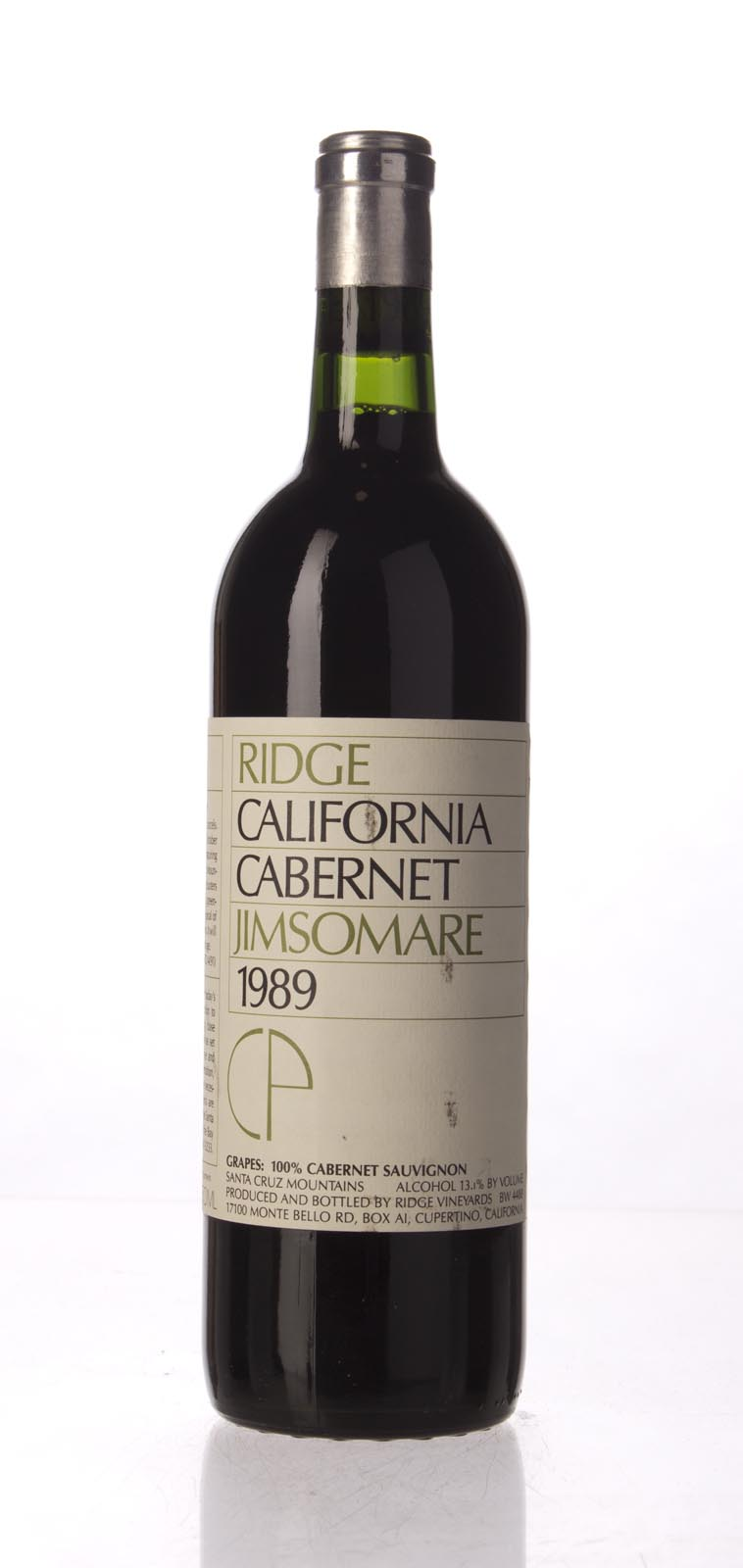 Ridge Cabernet Sauvignon Jimsomare 1989, 750mL () from The BPW - Merchants of rare and fine wines.