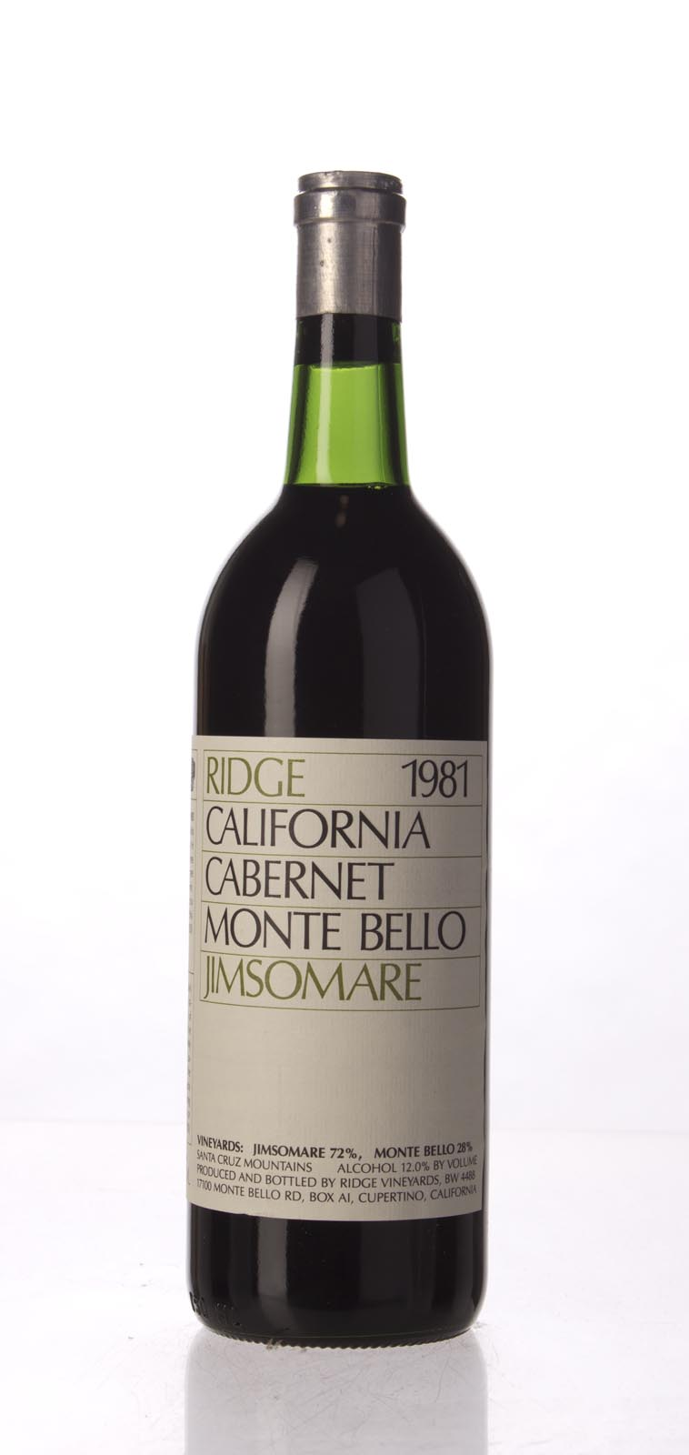 Ridge Cabernet Sauvignon Monte Bello / Jimsomare 1981, 750mL () from The BPW - Merchants of rare and fine wines.