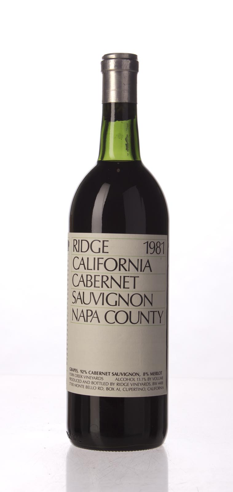 Ridge Cabernet Sauvignon Napa County 1981, 750mL () from The BPW - Merchants of rare and fine wines.