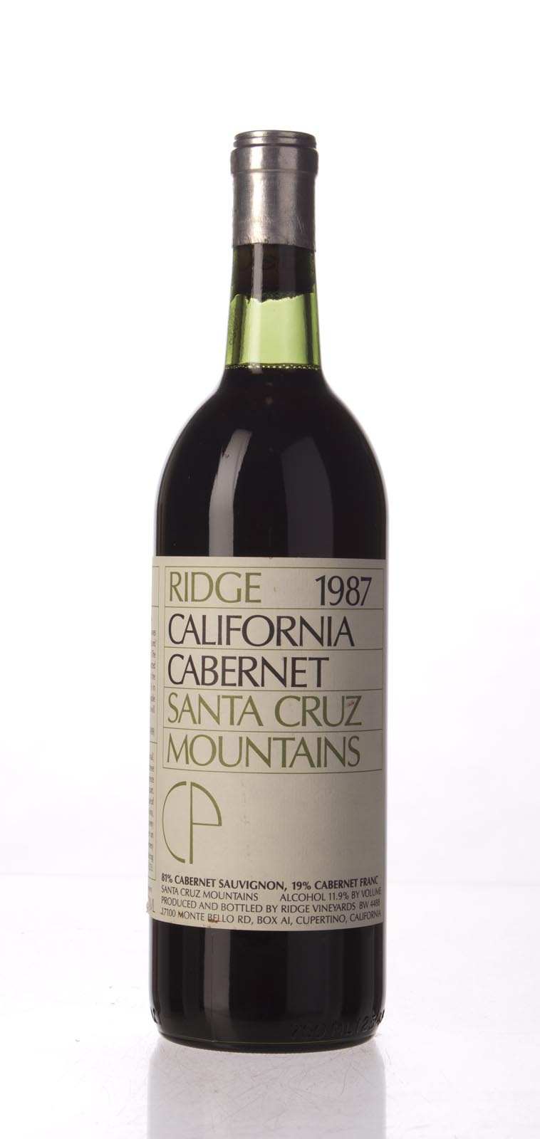 Ridge Cabernet Sauvignon Santa Cruz Mountains 1987, 750mL () from The BPW - Merchants of rare and fine wines.