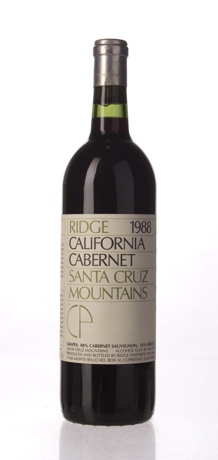 Ridge Cabernet Sauvignon Santa Cruz Mountains 1988, 750mL () from The BPW - Merchants of rare and fine wines.