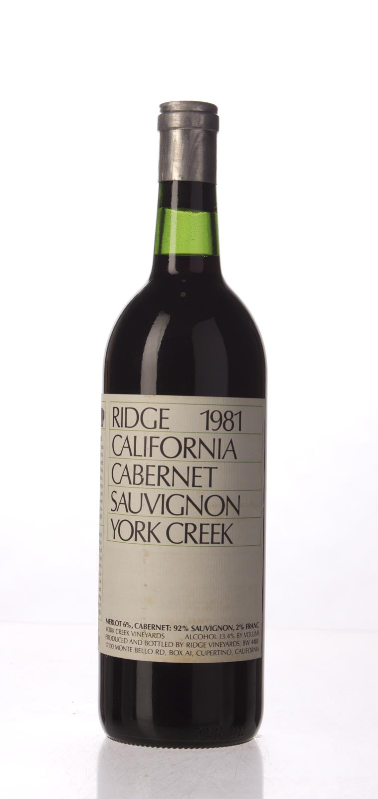 Ridge Cabernet Sauvignon York Creek 1981, 750mL () from The BPW - Merchants of rare and fine wines.