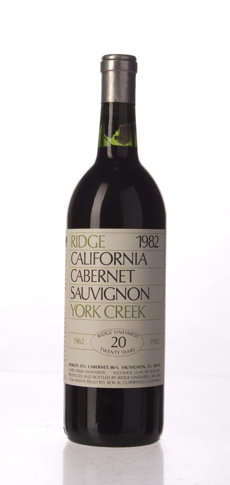 Ridge Cabernet Sauvignon York Creek 1982, 750mL () from The BPW - Merchants of rare and fine wines.