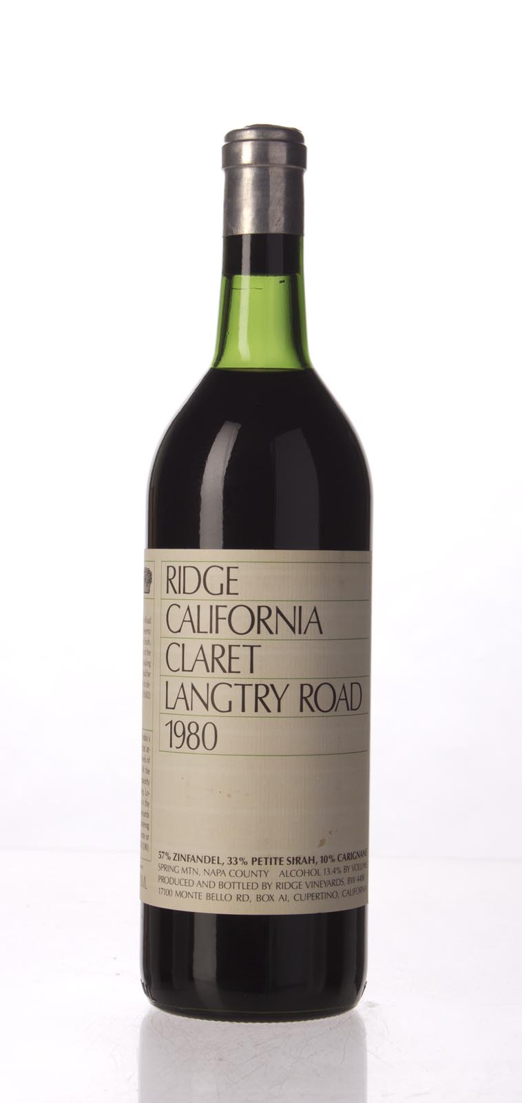 Ridge Claret Langtry Road 1980, 750mL () from The BPW - Merchants of rare and fine wines.