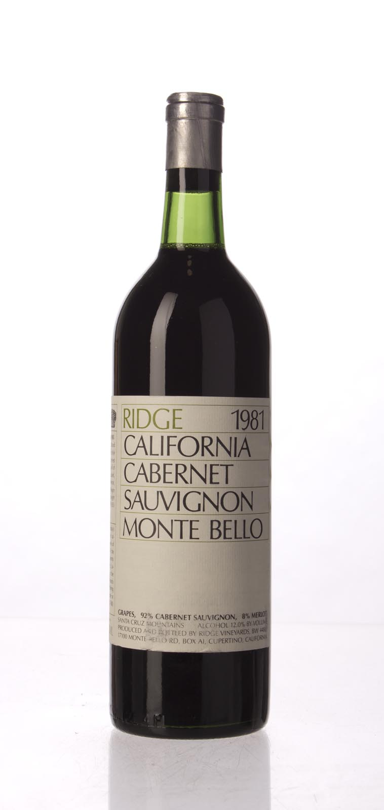 Ridge Monte Bello 1981, 750mL (WA90) from The BPW - Merchants of rare and fine wines.