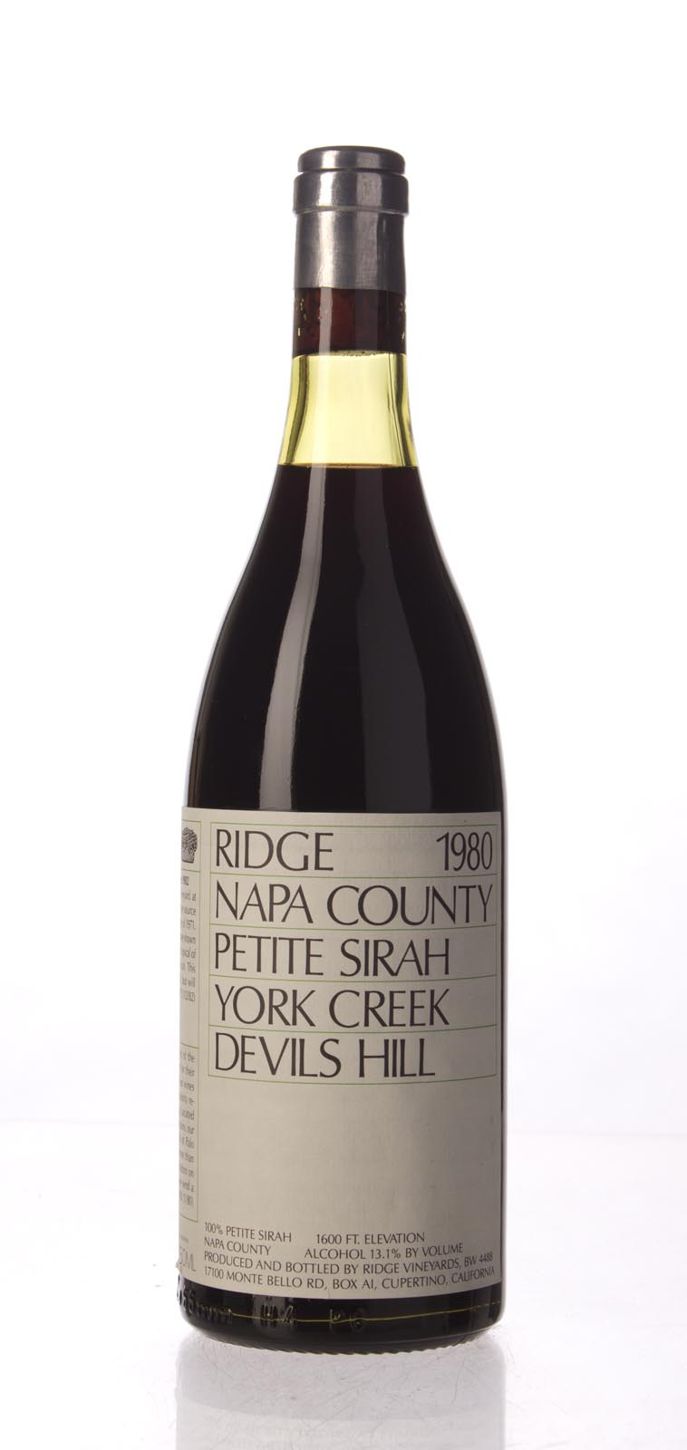 Ridge Petite Sirah Devil`s Hill 1980, 750mL () from The BPW - Merchants of rare and fine wines.