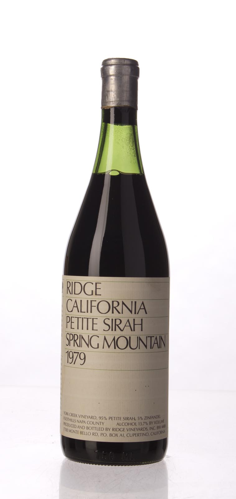 Ridge Petite Sirah Spring Mountain 1979, 750mL () from The BPW - Merchants of rare and fine wines.