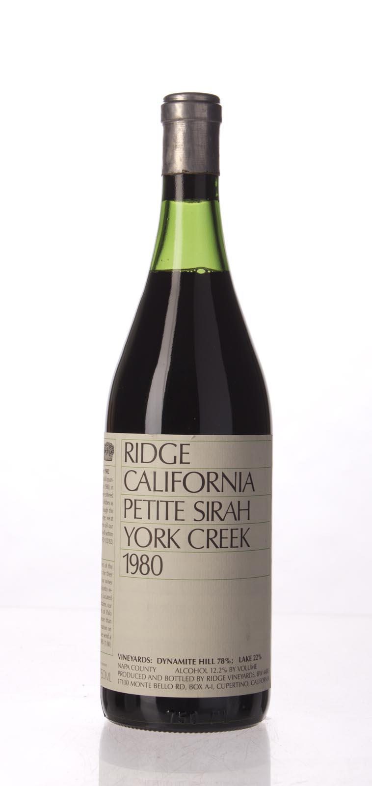 Ridge Petite Sirah York Creek 1980, 750mL () from The BPW - Merchants of rare and fine wines.