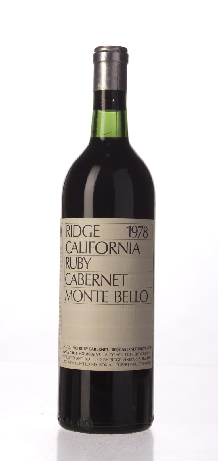 Ridge Ruby Cabernet Monte Bello 1978, 750mL () from The BPW - Merchants of rare and fine wines.