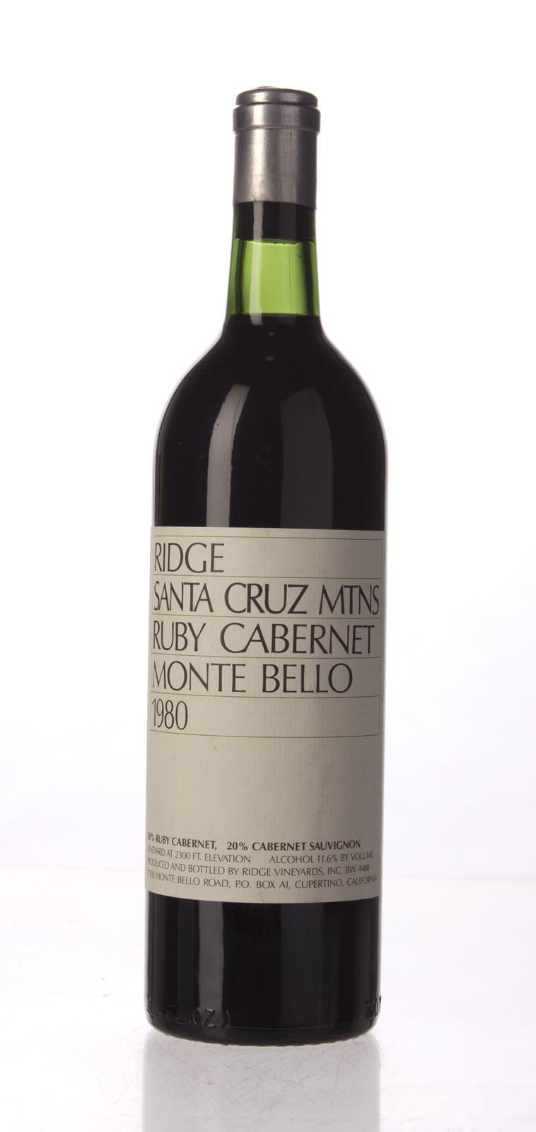 Ridge Ruby Cabernet Monte Bello 1980, 750mL () from The BPW - Merchants of rare and fine wines.