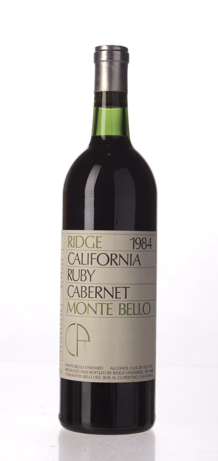 Ridge Ruby Cabernet Monte Bello 1984, 750mL () from The BPW - Merchants of rare and fine wines.