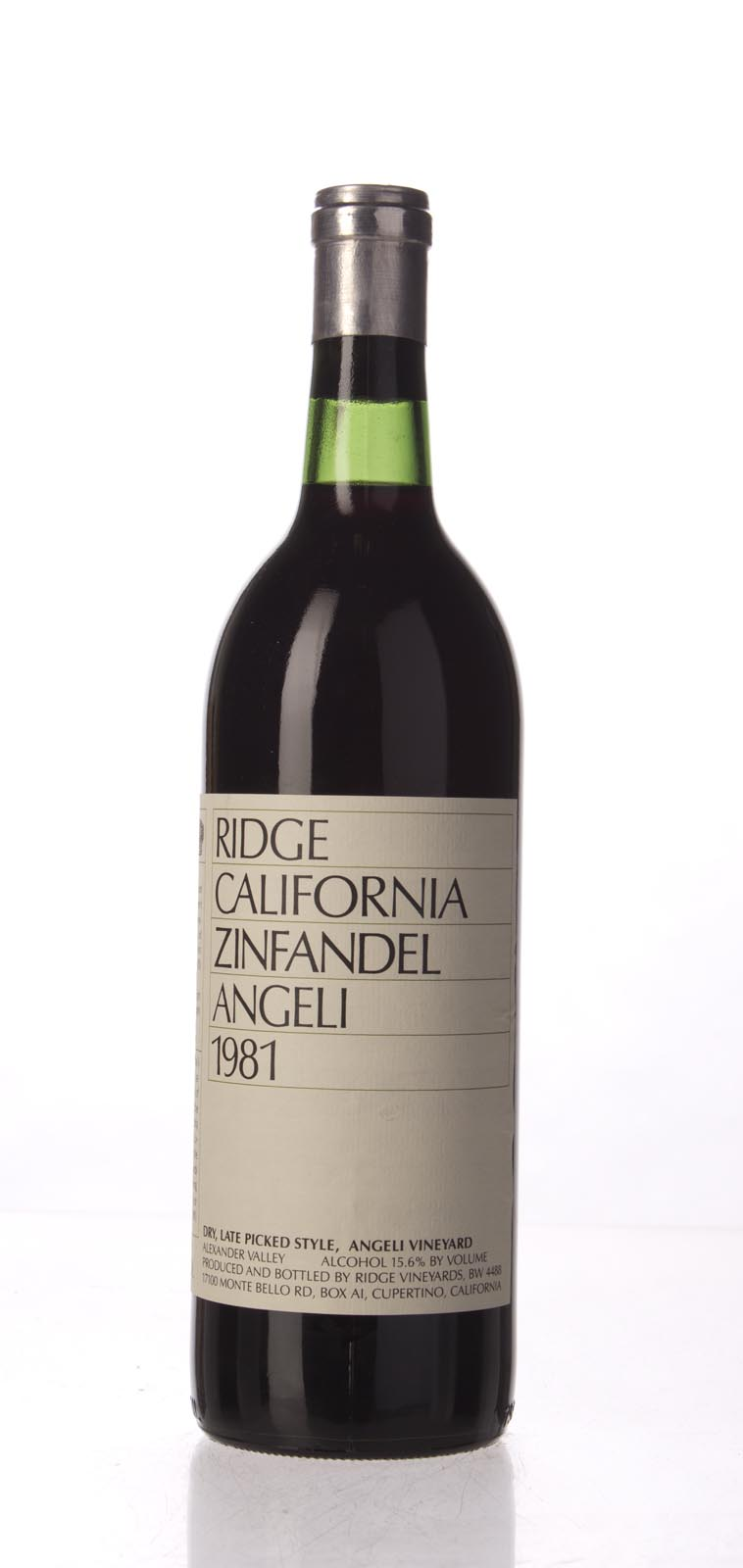 Ridge Zinfandel Angeli Dry Late Picked 1981, 750mL () from The BPW - Merchants of rare and fine wines.