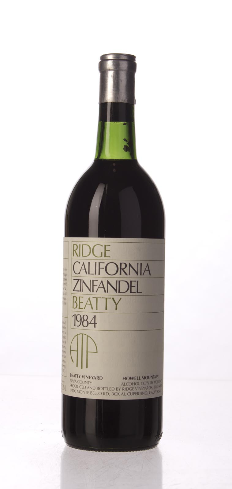 Ridge Zinfandel Beatty Vineyard 1984, 750mL () from The BPW - Merchants of rare and fine wines.