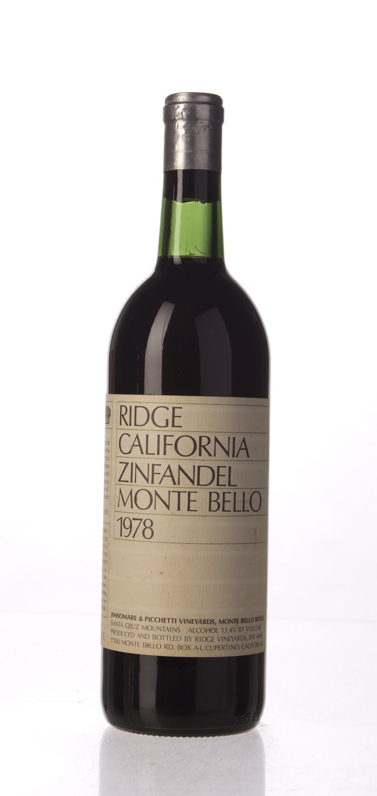 Ridge Zinfandel Monte Bello 1978, 750mL () from The BPW - Merchants of rare and fine wines.