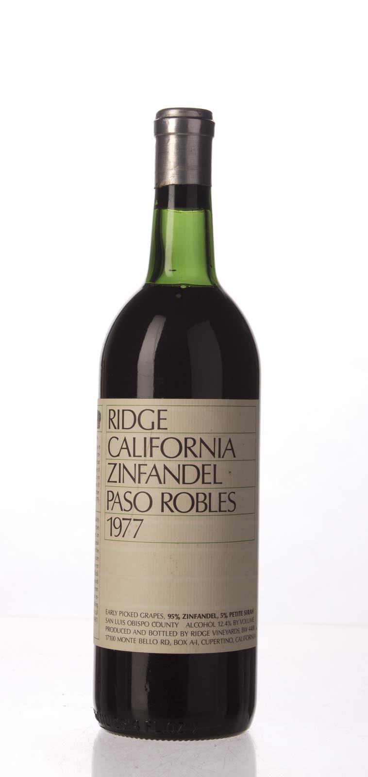 Ridge Zinfandel Paso Robles 1977, 750mL () from The BPW - Merchants of rare and fine wines.