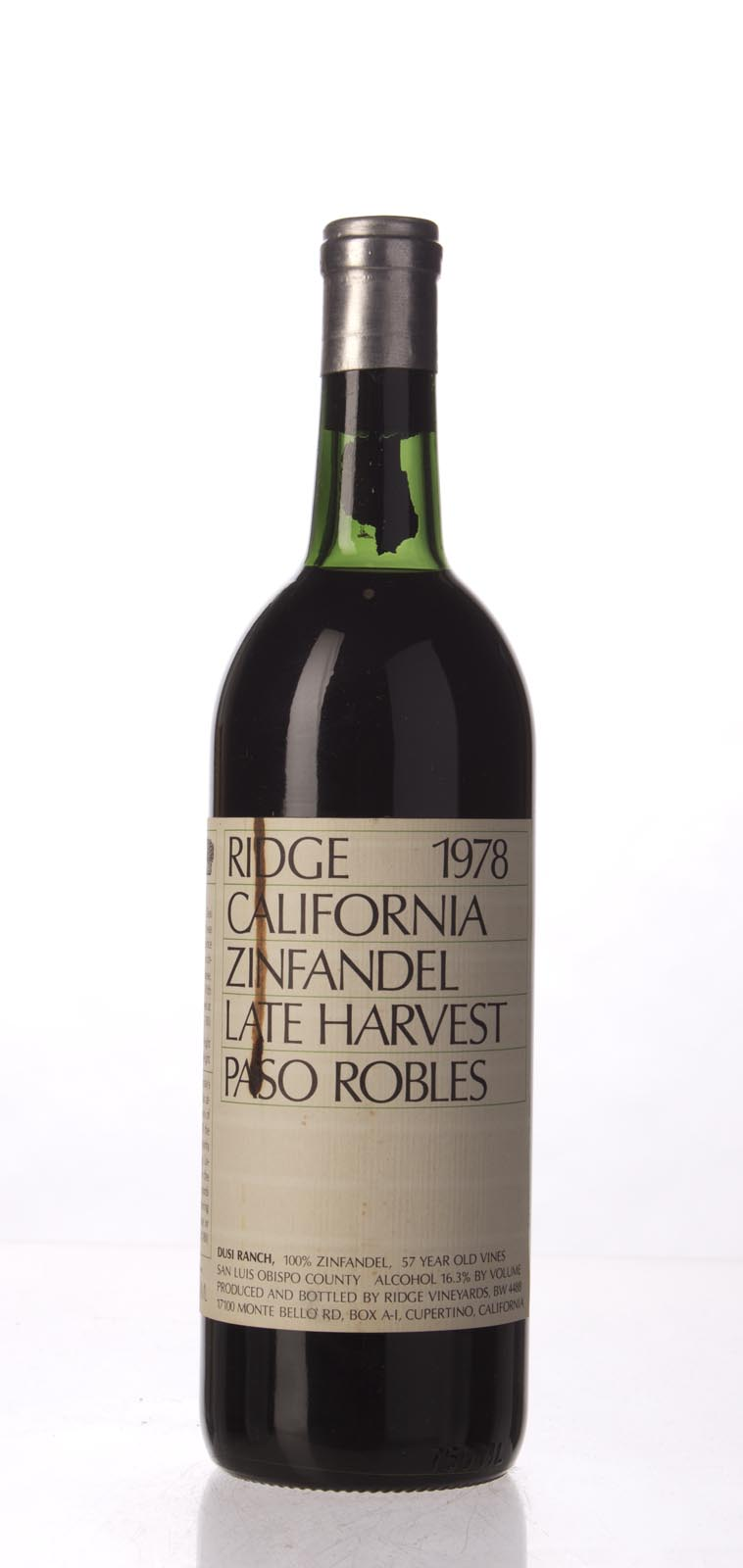 Ridge Zinfandel Paso Robles 1978, 750mL () from The BPW - Merchants of rare and fine wines.