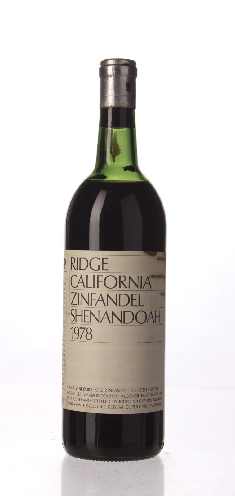 Ridge Zinfandel Shenandoah 1978, 750mL () from The BPW - Merchants of rare and fine wines.