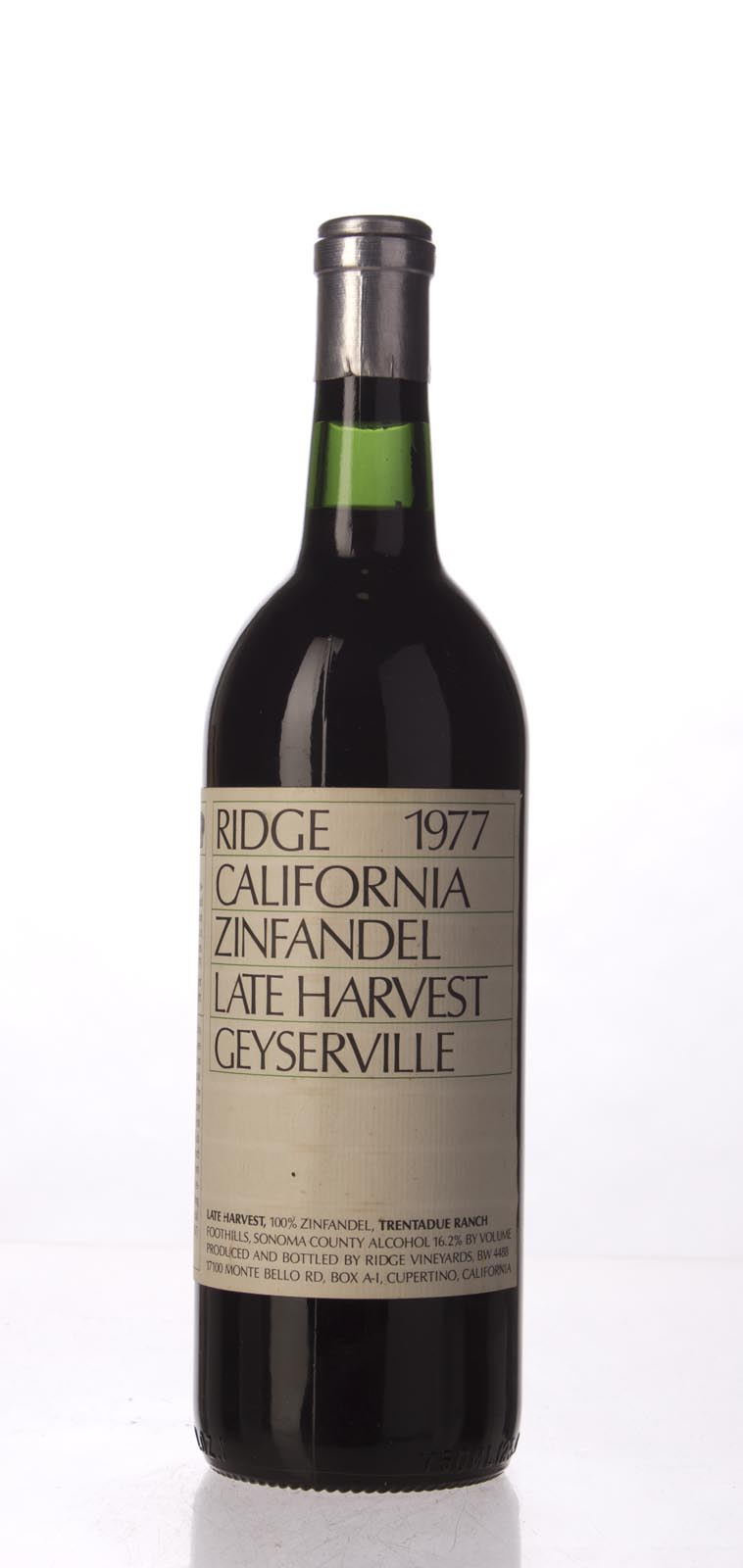 Ridge Zinfandel Trentadue Ranch Late Harvest 1977, 750mL () from The BPW - Merchants of rare and fine wines.