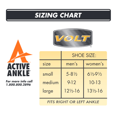Active Ankle Volt Sizing Chart
