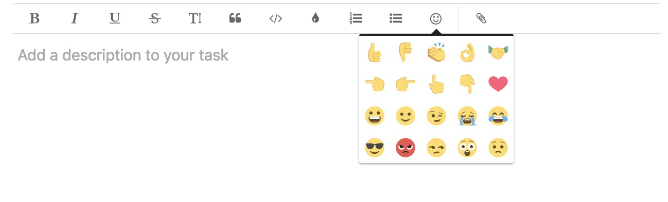 Emojis in tasks and comments