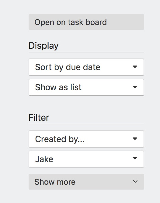 Tasks page sidebar