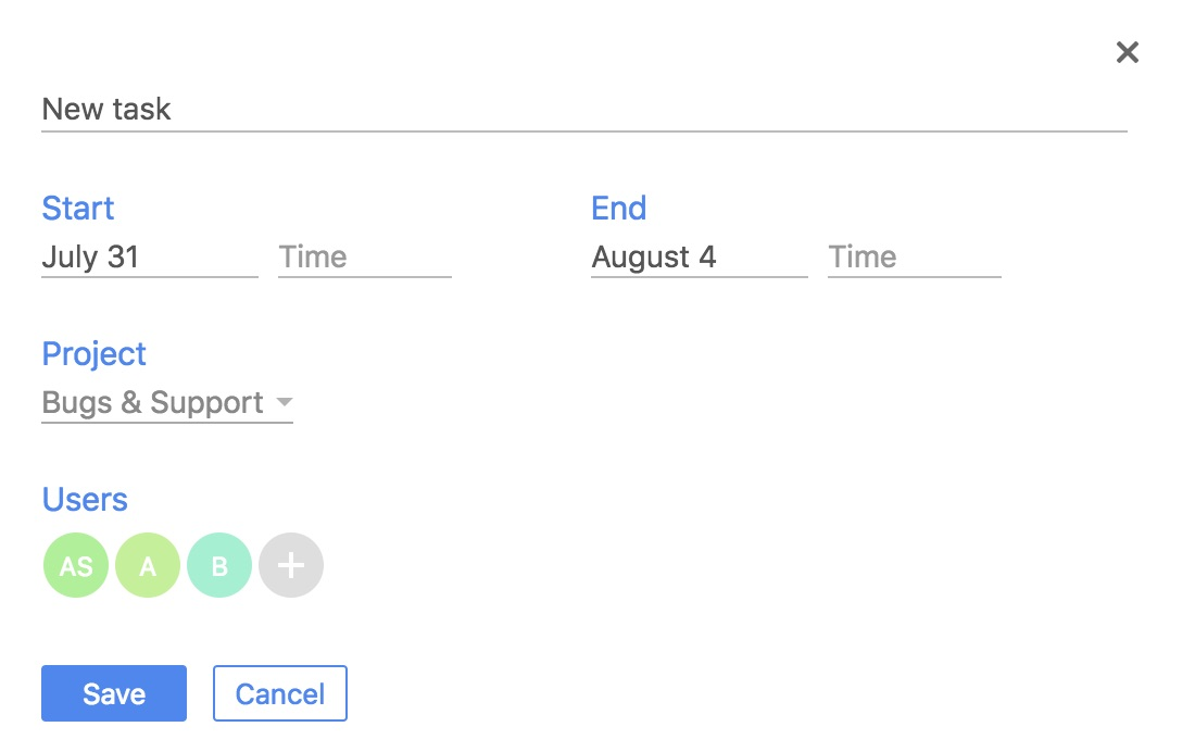 Calendar event edit
