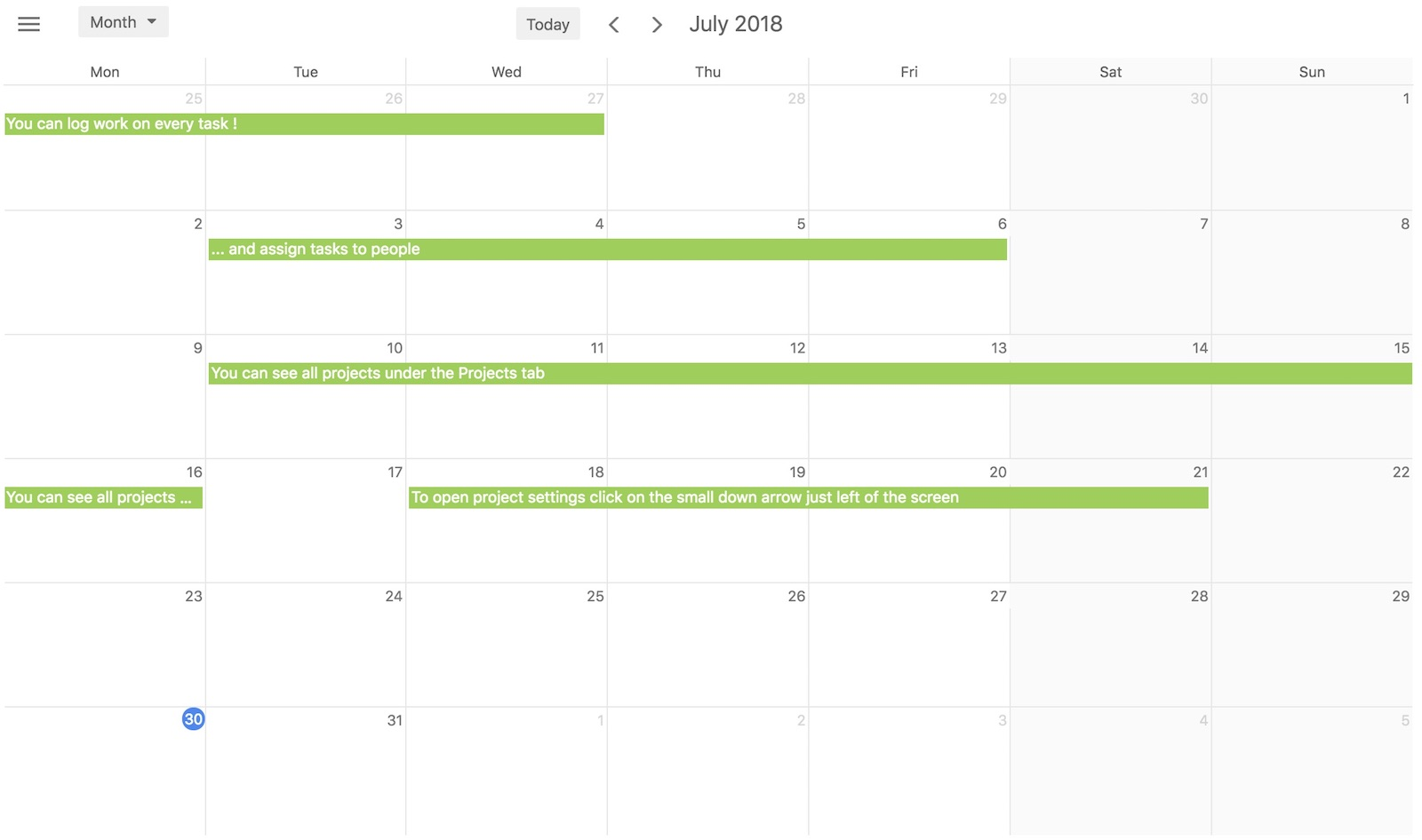 Calendar task view