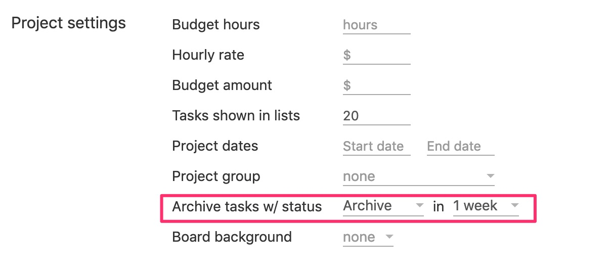 Automatically archive tasks