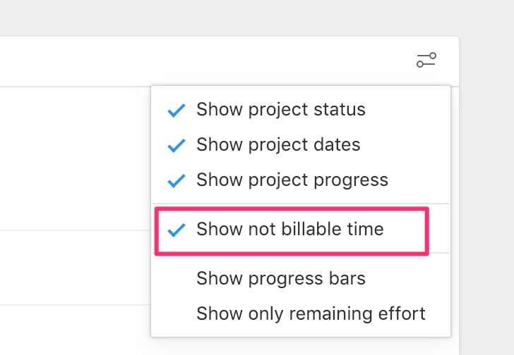 Project billable settings