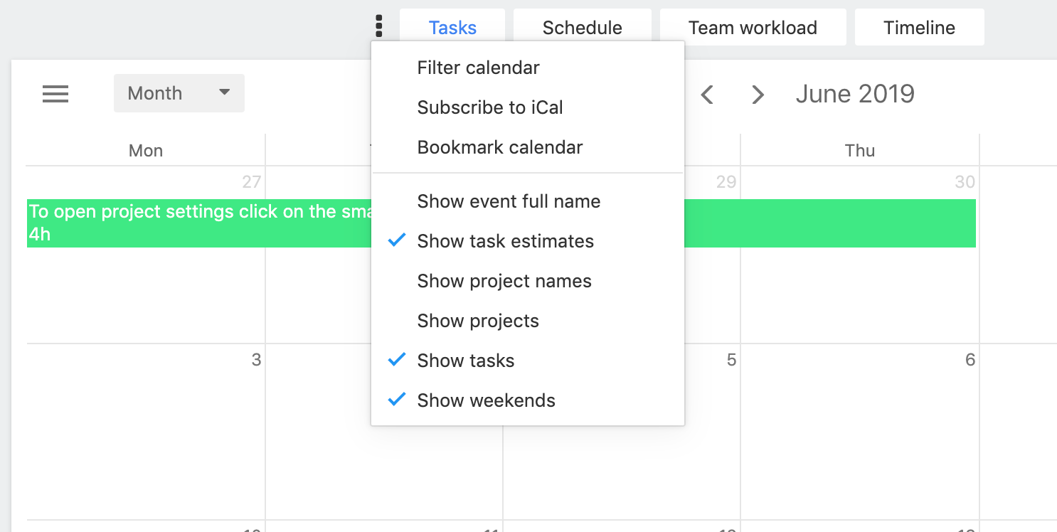 Task estimates in the calendar